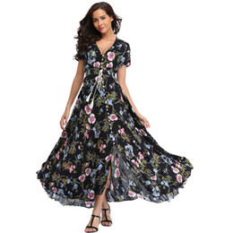 beach night dress party UK - Women Flower Print Casual Split Beach Dress Ladies Elegant Cotton Vintage Boho Party Dresses 2019 Long Summer Floral Maxi Dress