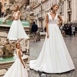 $enCountryForm.capitalKeyWord Australia - 2019 Elegent Plus Size A Line Wedding Dresses Sexy V Neck Backless Satin Sweep Train Cheap Bridal Gowns Custom Made