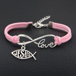 Christian Leather Bracelets For Men NZ - Vintage Pink Leather Suede Cuff Fashion Jewelry For Women Men 12 Color Infinity Love Fish Jesus Christian Wrap Charm Bracelet & Bangles Gift