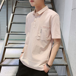 Cotton Polo Top Australia - Shortsleeved Tshirt New Korean Trend Mens Pure Cotton Top Polo Tshirt Summer Loose Shortsleeved