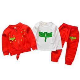 Girl Children Models NZ - 2019 New Autumn Winter Children Girl Cotton Cartoon Dragonfly Model Zipper Jacket T-shirt Pants 3Pcs Set Kids Clothing Tracksuit