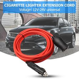 lighter cables 2019 - 12V 24V 10A Car Cigarette Lighter Socket Extension Cord Cable 3.6m 12ft Red Cigarette Lighter Plug Male-To-Female Extens