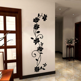 furniture wall stickers Australia - Hot Sale Black Flower Vine Wall Stickers Removable Wall Decal for Bedroom Living Room Refrigerator Furniture Background