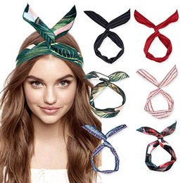 $enCountryForm.capitalKeyWord Australia - Cute Girl Cross Knot DIY Hair Bands Printing Chiffon Flower Women Turban Headbands Rabbit Ear Hairband Headwear
