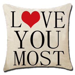 Valentine Pillows Gift Canada - Love Letter Pattern Linen Pillow Cushion Cover Car Home Sofa Decorative Pillowcase Valentine Linen Pillowcase Valentine's gifts