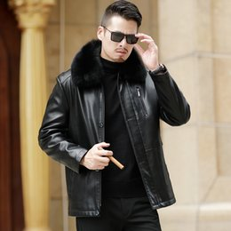 Mens sheepskin leather jacket online shopping - 2019 New Men Genuine Leather Coat sheepskin men s short Jacket leather winter jackets mens Plus Size M XL