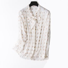 8534f74f 100% natural silk Blouses OL print Long Sleeve Real Silk Bow Tie Blouse Tops  for women Office Wear Shirts work Blouses