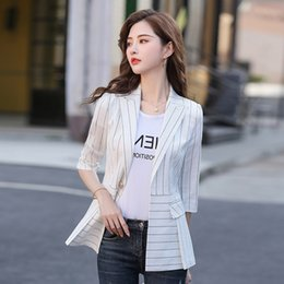celebrity slim fit suits NZ - 1Ey1n Striped suit jacket for Women 2020 Spring Korean style fashion small western style women's jacket jacketonline Celebrity Slim Fit Smal