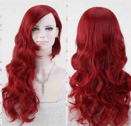 Anime cosplAy red hAir online shopping - Anime BATMAN Poison Ivy Long Red Synthetic Wave Hair Cosplay Hair Full Wigs