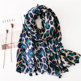 leopard scarf cotton NZ - Cotton and Linen Scarf Shawl Dual Use Classic Blue Leopard Print Long Section Scarf Women Spring and Winter Europe and America Bib Oversized