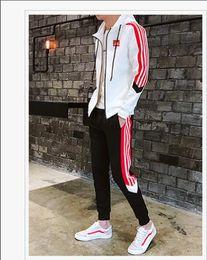 9d8734c9 2019 Осень мужской спортивный костюм на молнии для мужчин ADIDAS спортивный  костюм белый дешевый мужской свитшот и брючный костюм балахон и брючный  комплект ...