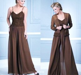 Mother Bride Wedding Dresses Jacket Australia - Chiffon Mother Of The Bride Pant Suits With Jacket Long Sleeves Spaghetti Straps Wedding Guest Dress Lace Mother Of Groom Prom Dresses