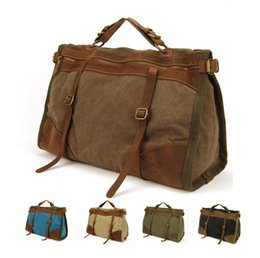 weekend bags men NZ - Vintage Retro military Canvas + Leather men travel bags luggage bags men weekend Bag Overnight duffle bags tote Leisure