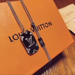 China models online shopping - Hot Korean version of the letter titanium steel necklace exquisite necklace personality men and women couple models big pendant pendant clav