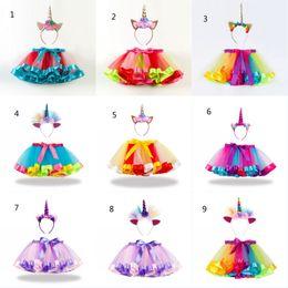 $enCountryForm.capitalKeyWord Australia - Unicorn Tutu Dress With Headband Children Rainbow TUTU Skirt Dress Girls Ball Gown Colorful Dance Wear Dress