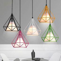 $enCountryForm.capitalKeyWord Australia - Industrial Art Iron Pendant Lights Bird Cage Metal Diamond Shape Pyramid Pendant Lamp Diameter 25cm  38cm Suspension Lamps