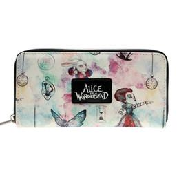 Wallet Zip NZ - Alice In Wonderland Zip Around Wallet Fashion Women Wallet Designer Brand Purse Lady Party Wallets Female Card Holder