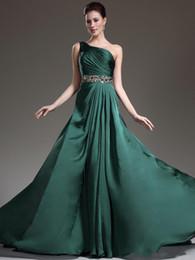 $enCountryForm.capitalKeyWord UK - 2019 New Beautiful dark Green Prom dresses hot sale evening dresses one shoulder formal gown beaded shiny crystal Vestido De Festa