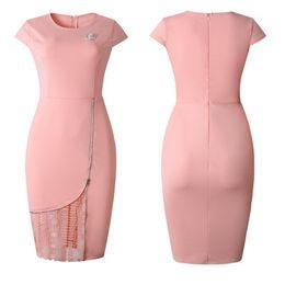 $enCountryForm.capitalKeyWord UK - Plus Size American and European Women Dresses 2019 New Elegant Short Sleeve Bodycon Lace Panelled Midi Women Formal Part Evening Dress P58