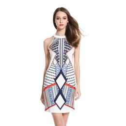 $enCountryForm.capitalKeyWord Australia - Spaghetti Strap Sundress Stylish Geometric print Women Summer Sleeveless Dress Sexy Off Shoulder Short Party Bodycon Dresses LJJA2493