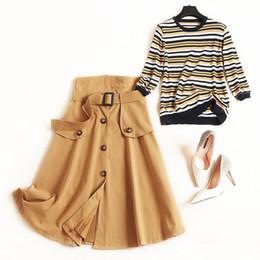 $enCountryForm.capitalKeyWord Australia - New 2019 Autumn Womens Fashion Skirts Suit Knit Sweater Tops Striped Pullovers Button Sashes Skirt Two Piece Set Plus Size