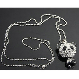 Necklaces Pendants Australia - Really nice!Shiny PANDA necklace!!shiny rhinestone super charm panda necklace jewelry Cute awesome panda pendant necklaces wholesale K3439