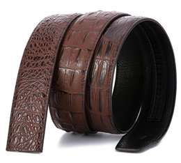 Automatic Buckle Leather Belt Crocodile UK - Crocodile print headless belt automatic buckle belt strip men's leather belt Selection of cowhide thick oily edge