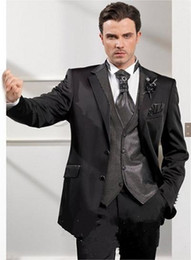 black two button suit NZ - New Arrivals Two Buttons Black Groom Tuxedos Notch Lapel Groomsmen Best Man Wedding Prom Dinner Suits (Jacket+Pants+Vest+Tie) 1504