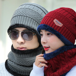 Discount artificial straw - Fashion-Beanie Hat Scarf Set Knit Hats Warm Thicken Winter Hat for Men and Woman Unisex CBeanie Knitted Caps CNY848
