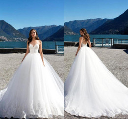Gold drops online shopping - 2019 Eleagnt Lace Appliqued Tulle A line Wedding Dresses Luxury Open Back Princess Plus Size Bridal Gown With Sweep Train BC2454