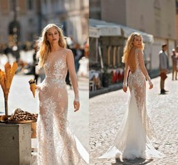 $enCountryForm.capitalKeyWord Australia - 2019 Champagne Long Sleeves Mermaid Wedding Dresses Sexy See Through Lace Appliqued Open Back Beach Bohemian Bridal Gown With Sweep Train