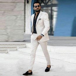 $enCountryForm.capitalKeyWord Australia - Summer Ivory Men Suits Wedding Suits Slim Fit Casual Bridegroom Custom Made Groom Wear Tuxedo Blazer 2Piece Coat Pants Best Man Prom Costume