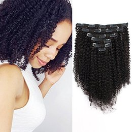 african american hair extensions 2019 - Big Thick Real Remy Human 3C 4A Double Weft Afro Curly Clip In Hair Extensions for African American Black Women, 120g 16