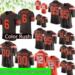 2e530d56df94 Cleveland Custom Browns Jersey 85 David Njoku 29 Duke Johnson Jr 95 Myles  Garrett 24 Nick Chubb 19 Bernie Kosar 32 Brown 44 Kelly Jerseys
