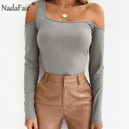 ribbed t shirts Australia - Nadafair winter long sleeve rib knitted t shirts women autumn solid off shoulder sexy sweater tops female casual slim tshirt