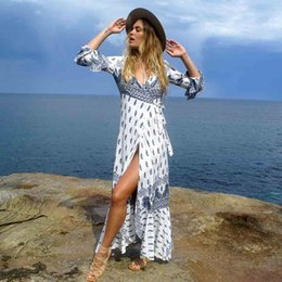 Dresses Amazon Australia - 2019 fashion trend women's Europe and America large size women's Amazon hot sale bohemian long skirt spring and summer beach dress party dre