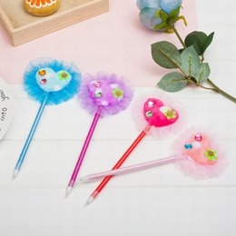metal ballpen UK - Ballpen Plastic Lovely Peach Blue Pencil Lead Fashion Office Supplie Metal Rubbion Handwork Bold Handwriting For Children Office Four Color