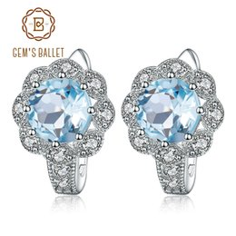 Genuine Gemstone Sterling Silver Australia - Gem's Ballet Natural Sky Blue Topaz Gemstone Earrings Genuine 925 Sterling Silver For Women Gorgeous Fine Jewelry Y19052401