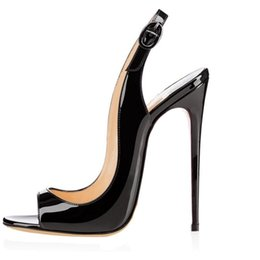 Vogue Sandals UK - 2019 NEW Occident Fashion sexy banquet shoes Women buckle sandals High Heeled open toes Sexy Vogue Summer Heels Ankle strap 12cm