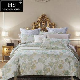 Chinese Jacquard Bedding NZ - Egyptian cotton Yarn Dyed Jacquard Chinese Brush Painting Chrysanthemum 4Pcs Bedding Sheets Pillowcase Duvet Cover Queen King Size