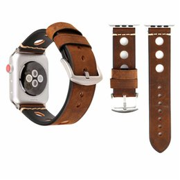 Discount new style boys watches - for apple watch band 42mm New Retro Hole Leather Wrist Strap Simple Style Fashion Adjustable for iwatch bands for Men Wo