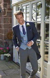 ClassiC tuxedo styles online shopping - Tailcoat Morning Style Groomsmen Peak Lapel Groom Tuxedos Men Suits Wedding Prom Dinner Best Man Blazer Jacket Pants Tie Vest G266