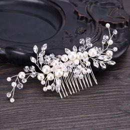 $enCountryForm.capitalKeyWord Australia - Fashion Silver Hair Jewelry Pearl Rhinestone Hair Combs And Clips Handmade Bridal Hairpins For Wedding Women Hair Accessories