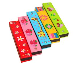 Cartoon Wooden Harmonica Kids Musical Instrument Educational Toy Colorful Children Attractive Toys Babys Birthday Gift hot sell from acoustic guitar plectrum manufacturers