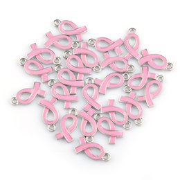 $enCountryForm.capitalKeyWord Australia - AIDS Day Breast Cancer Pink Ribbon Silver Plated Alloy Beads Pendant Jewelry Fittings Fit Necklace Bracelet 10*15mm 100pcs HB089