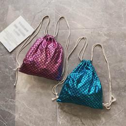 Bags Fish Scale Australia - Women Fish-Scale Pattern Shoulder Bag Messenger Bag Drawstring Backpack
