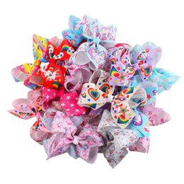 wholesale large alligator hair clips NZ - Girls Jojo Bow Unicorn Hair Bows Alligator Clip 12cm Large Rainbow Bowknot Barrettes Hairpins Children Headwear Hairclip Hair Accessories