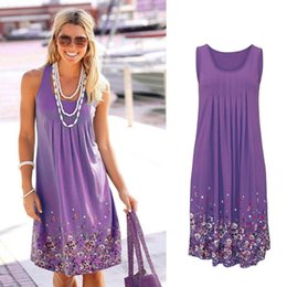 $enCountryForm.capitalKeyWord NZ - Sleeveless Floral Print Loose Dress Fashion Six Colors Casual Women Dress Robe Femme Ete Sexy Dress Plus Size