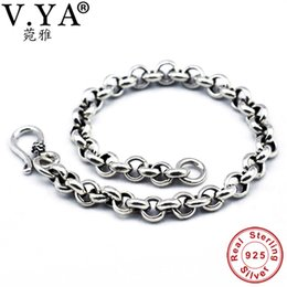 sterling silver hook bracelet NZ - V.ya Solid 925 Sterling Silver Men Bangles Bracelet Luxury Male Charm Bracelets 5mm Men's Fine Jewelry Birthday Gifts C19041001