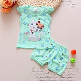 Summer Cat Suits NZ - good quality Girls Clothing sets Toddler Kids Summer Infant T-Shirt Tops Shorts Outfits Clothes Suit cartoon 2pcs cat clothes sets